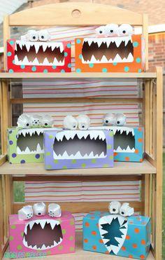 Les monstres Tattle Monster, Monster Box, Monster Party, Monster Eyes, Feed The Monster, Happy Monster, Monster Mash, Kids Crafts, Projects For Kids