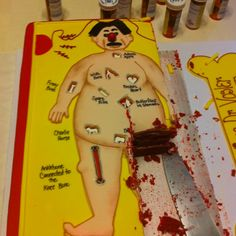 This would be fitting for a med school get together. I like how the red velvet looks like a bloody mess haha