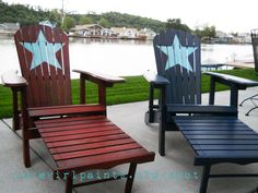 Patriotic Summer Beach Chairs - these would look so cute at Lake Ozonia! Adirondack Chairs, Outdoor Chairs, Outdoor Decor, Adirondack Furniture, Outdoor Stuff, Welcome July, Patriotic Decorations, Beach Chairs, Red White Blue