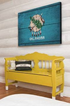Oklahoma flag on wood. love the colors! I think you should try this @Shelly Figueroa O'Malley Robinson