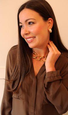 vintage 80's Large Link Necklace