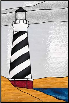 Lighthouse And Boat Decorative Patterns Stained Glass Decorative