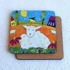 Sous-verre • Le mouton - reproductions des toiles d'isabelle Malo Isabelle, Illustrations, Pot Holders, Sheep, Canvases, Gift, Hot Pads, Illustration, Potholders