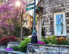 Downtown Eureka Springs in bloom.  Photo by Edward Robison @ Sacred Earth Gallery