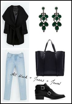 SET | All Black + Jeans + Jewel