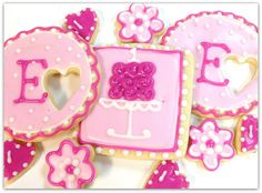 Pink Birthday Sugar Cookies Cake Hearts by SugarMeDesserterie