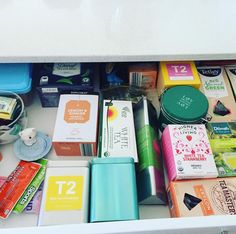 OMG!!!! Check out my friend's gorgeous Tea Drawer! Yes I love it!!! I think I need to make some room in my kitchen for one. Who has one? Any tea lovers out there??? #tea (surely one of those pics is a tea) Irene