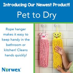 """Did you wash your hands?"" Never ask that question again with these fun options. Kids will love the cute animal motifs and the softness of the chenille microfiber. You will love the antibacterial properties of our exclusive BacLock™. Rope hanger makes it easy to keep handy in the bathroom or kitchen. Great for on-the-go too— hang on the stroller handle and keep one handy in the car. Not to be used as a toy. #Norwex2015"