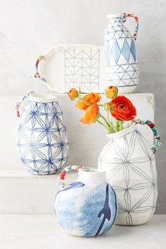 These handcrafted pieces blend textures and materials - including fabrics, beadwork and patterned stoneware - to vivid, personality-filled effect.