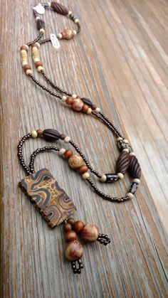 Long Brown Wood Necklace, Wood Beaded Necklace, Bronze Beauty