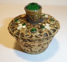 VTG Emerald Glass Jeweled Czech Filigree Miniature Gilt Perfume Bottle Marked | eBay