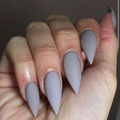 Matte Grey Stiletto Nails - sonatina sheadbeauty matte grey x ...