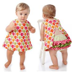 Image of Baby Dress Pattern - Reversible, Open Back - Downloadable Sewing pattern