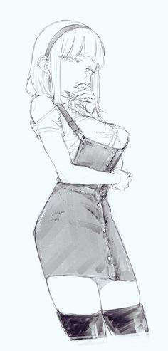 Anime Sexy, Cool Anime Girl, Sexy Drawings, Anime Drawings Sketches, Anime Sketch, Sketch 2, Female Pose Reference, Art Reference Poses, Female Drawing