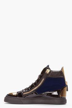 GIUSEPPE ZANOTTI Navy Velvet Metal-Plated High-Top Sneakers Nike Huarache 1816131392b
