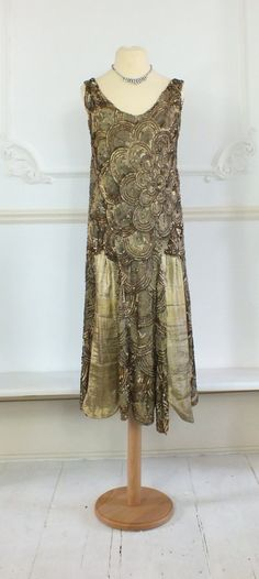 Lovely 1920s gold sequin dress with gold lame by PenniesLondon, £895.00