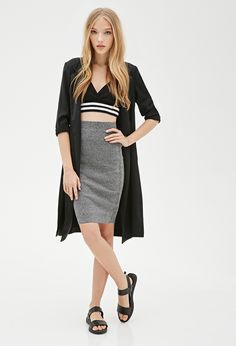 FOREVER 21 Marled Knit Pencil Skirt  http://www.shopstyle.com/action/loadRetailerProductPage?id=466874398&pid=uid3601-7931801-85  #fashion #style #beauty #hair #makeup #accessories #clothes #shoes #jewelry #jewellery #fashiontrends #love #winter #winterclothes #winteraccessories #winterfashion #winterstyle #winteroutfits #winteroutfitideas #outfit #outfitideas #outfitidea #ootd #outfitoftheday #outfitinspiration #casualoutfit #varsitytop #varsitycroptop #pencilskirt #maxikimono #midikimono