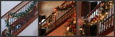 Beautiful DIY Christmas Garland - staircase, stairway Before & After