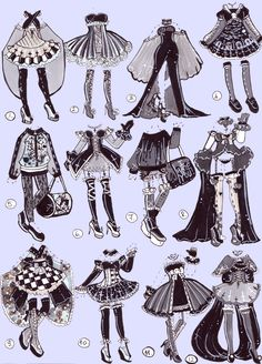 SOLD-Monochrome outfits by Guppie-Vibes on DeviantArt Clothes Draw, Manga Clothes, Drawing Anime Clothes, Clothing Sketches, Dress Sketches, Arte Copic, Character Art, Character Design, Wie Zeichnet Man Manga