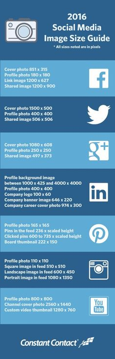 Keep social media image sizes all in one place.  No more searching around online for the exact sizes to use.