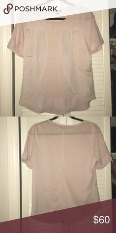 J Crew Tan Seamed Panel Tee size M Worn 3-4 times. J. Crew Tops Blouses