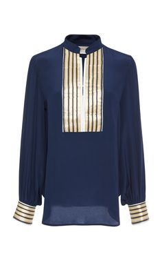 This Zeus + Dione Crepe De Chine Mira Blouse features a mao collar with bold contrast golden plackets and cuffs. Collar Top, Collar Blouse, Blue Blouse, Blue Tops, Polyvore, Sweaters, Jackets, How To Wear, Shopping