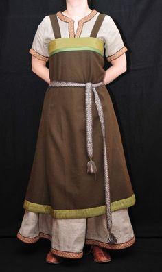 Wool Apron Dress and Linen Underdress.