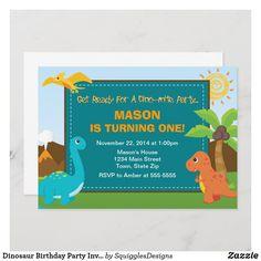 Dinosaur Birthday Party Invitation 5x7 Card Dinosaur Birthday Invitations, Dinosaur Birthday Party, Custom Invitations, Wedding Invitations, Compliments, Cards, Wedding Invitation Cards, Maps, Playing Cards