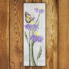 Custom made Portfolio Series Tile. Vertical x Butterfly Cone Flower Tile is Made in Canada and comes with a Lifetime Warranty. Garden Art, Display, Flower Tile, Commercial Flooring, Barn Wood, Original Work, Inspiration, Reclaimed Barn Wood