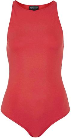 Womens coral red high neck thong body from Topshop - £16 at ClothingByColour.com
