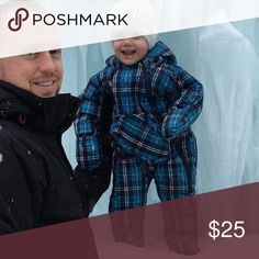 Plaid Snow Suit Double front zippers to make the in and out really easy. Fold over hand mittens. Attached feet to keep the wet and cold out. Velcro hood. Perfect for keeping baby warm and dry all winter long. Like new condition. Jackets & Coats