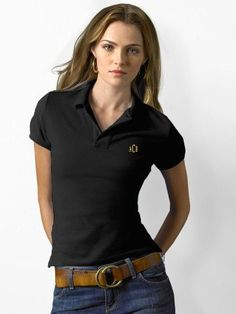 Polo Shirts Cable Knit Sweaters Oxford Shirts Khakis or Chinos Linen Skirts Cardigan Sweaters Jackets Floral Dress Polo Shirt Girl, Polo Shirt Outfits, Polo Outfit, Black Polo Shirt, Polo Shirt Women, Pants For Women, Polo Shirts, Restaurant Uniforms, Shirts
