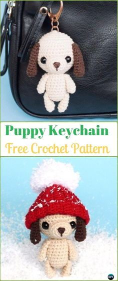 Crochet Puppy Keychain Amigurumi Free Pattern - Amigurumi Puppy Dog Stuffed Toy Patterns