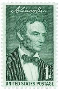 """#1113 - 1959 1c Abraham Lincoln U.S. Postage Stamp Plate Block (4) . $0.20. U.S. #1113 shows Abraham Lincoln without a beard - different from the more common bearded images. Lincoln was the first U.S. President to have a beard. He grew it after being elected, perhaps on the advice of an 11-year-old girl. Four stamps were issued for the Lincoln Sesquicentennial Series. George Peter Alexander Healy's 1860 painting from life, """"Beardless Lincoln,"""" is pictured on this first stamp."""