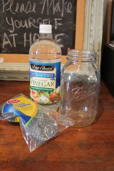 Make your own Wood Stain -- they put vinegar and a steel scrubby in a glass jar for 24 hours.  They loved it on all the woods except pine (it was okay, not great); and think that any old steel objects (nails?) in the jar will work just as well.