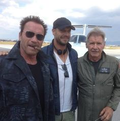 First look at Arnie & Harrison Ford on the set of The Expendables 3