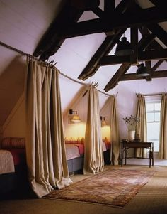 Double Beds and drapes allow for couples and semi-privacy - InGoodTaste:AmeliaHandeganDesign