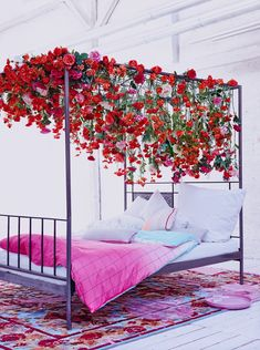 This is really amazingly creative- they took silk flowers and made an ordinary IKEA bed look spectacular. Fake Flowers Decor, Flower Room Decor, Fake Plants Decor, Faux Flowers, Plant Decor, Flower Decorations, Cloud Bedroom, Fairytale Bedroom, Flower Studio