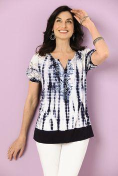Lifestyles eyelet sleeve embroidered tie-dye peasant blouse. #SteinMart