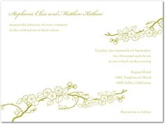 Letterpress Wedding Invitations - Cherry Blossoms: 1 Color Wedding Invitations by Wedding Paper Divas