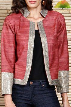 Jackets & Shrugs - Fusion Wear - Women (Page Kurta Designs, Blouse Designs, Dresses Short, Jacket Pattern, Collar Pattern, Jackets For Women, Clothes For Women, Mode Hijab, Cotton Jacket