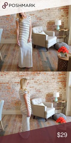 "Ivory and black striped short sleeve maxi dress Modeling size small.  92% polyester 8% spandex.  Bust laying flat: S 15"" M 16"" L 17"" Length S 57"" M 58"" L 59"". Add to bundle to save when purchasing.  FG5570421 Dresses Maxi"