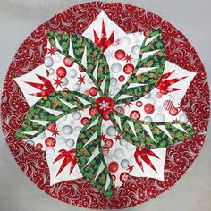 Poinsettia, Quiltworx.com, Made by Connie Johnson Braid Quilt, Table Topper Patterns, Winter Quilts, Foundation Paper Piecing, Poinsettia, Quilt Making, Quilting Designs, Cross Stitch Embroidery, Fabric Design