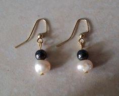 Gold-Plated-Hook-Black-Magnetite-Bead-Sweet-Water-Pearl-Earrings-US-Seller #magnetite #pearl #earrings
