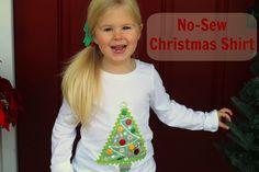 Christmas no-sew shirt - a Mod Podge photo transfer!