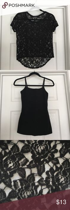 "Express Black Lace Top & Black Cami: Both Size XS Express black stretch lace top. Size XS. Black cami to go underneath. Also size XS. Good condition. No stains or holes. 18"" across, under the arms. Front length is 19"". Back length is 22"". Express Tops Tees - Short Sleeve"