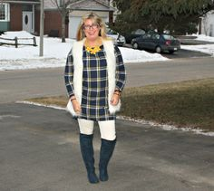 old navy blue plaid dress and white fur vest and blue suede boots with white denim in winter#fashion #fashionover50 #40plusstyle #ootd