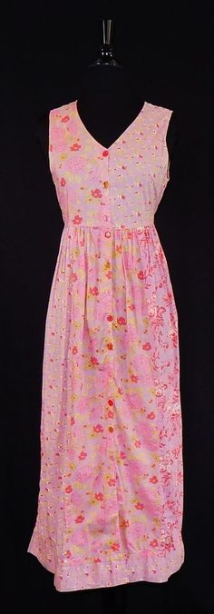 APRIL CORNELL Pink Shabby Cabbage Roses Floral Empire Chic Summer Dress Size S #AprilCornell #SundressShirtDressMaxiEmpireWaist #Casual