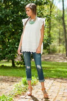Object Of My Desire Top, White - The Mint Julep Boutique