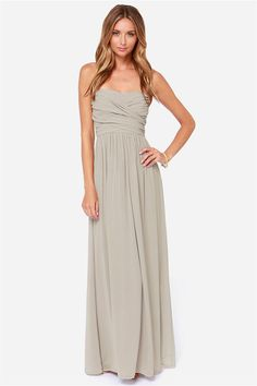 Bridesmaids? LULUS Exclusive Royal Engagement Strapless Light Grey Maxi Dress at Lulus.com!